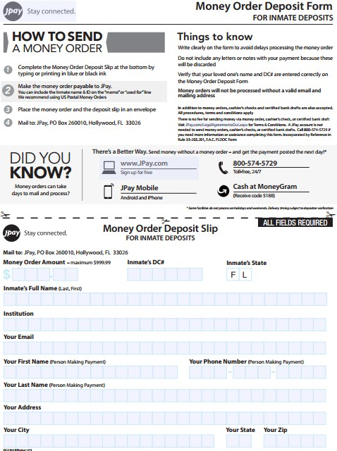 JPay Money Order Deposit Form for Inmate Deposits | JPay Login