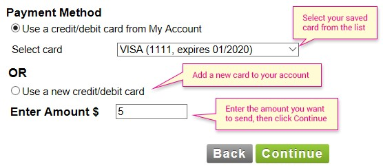 payment method by selecting